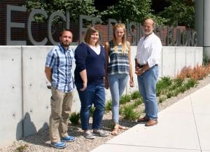 Sam Vincent, Stephanie Martin, Hannah Hendrickson and Director of Capstone Initiatives Stephen Goldsmith