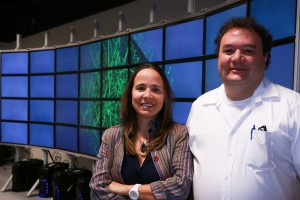 Alessandra Angelucci (left), a University of Utah professor of ophthalmology and visual science, and University of Utah computer science professor Valerio Pascucci stand in front of a computer model of a cluster of neurons scanned from a primate's brain. They have developed software that maps out a monkey's brain and more easily creates a 3-D model, providing a more complete picture of how the brain is wired. This method of visualizing the brain could help medical researchers better understand what happens to the human brain after it is affected by conditions such as autism, depression, anxiety or retinal degeneration.