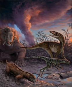 Animals escaping from an erupting volcano 235 million years ago in northwestern Argentina. These species, found as fossils in the Chañares Formation, include early mammal relatives (the dicynodont Dinodontosaurus in the left background, and the cynodont Massetognathus in the left foreground) and early dinosaur precursors (Lewisuchus in the right background, and Lagerpeton in the right foreground). By measuring radioactive isotopes in zircons crystals from the volcanic ash, scientists were able to determine the precise age of this fossil assemblage.
