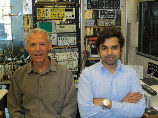 University of Utah biology professor Gary Rose and neuroscience doctoral student Rishi Alluri with some of the equipment they use to measure electrical activity in the brain cells of frogs. Their new study reveals how single brain cells or neurons compute the duration of sounds -- something necessary for human speech recognition.