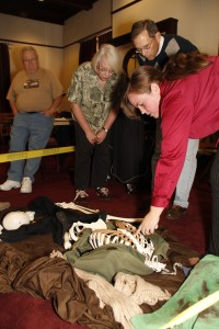 U Osher students participate in a forensic anthropology class.