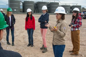 Students from the Praxis Lab receiving a tour of the Anadarko natural gas fields outside of Vernal, Utah during their fall 2014 field trip.