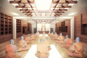 A design rendering of a prayer room at the Tibetan Community Center