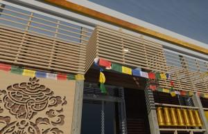 An exterior entrance design rendering of Tibetan Community Center by Matthew Van Wagner, Tales Martinez Brito, and Matt Green