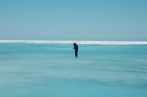 A rubber-suited Ken Golden wades into icy Arctic waters to measure the depth of this melt pond. Understanding how environmental conditions like temperature and incoming solar radiation affect percolation, or the movement of water up and down through sea ice, could help scientists better predict how sea ice might respond to changes in its environment.