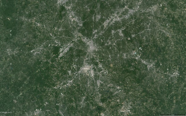 A Google Earth image of Atlanta, GA, which has a high sprawl score and low upward mobility.