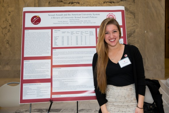 2015 Research on Capitol Hill presenter and U student Tara Streng in front of her poster. Streng's research examined sexual assault policies across 10 universities across the nation and won an honorable mention at Harvard University's National Collegiate Research Conference.