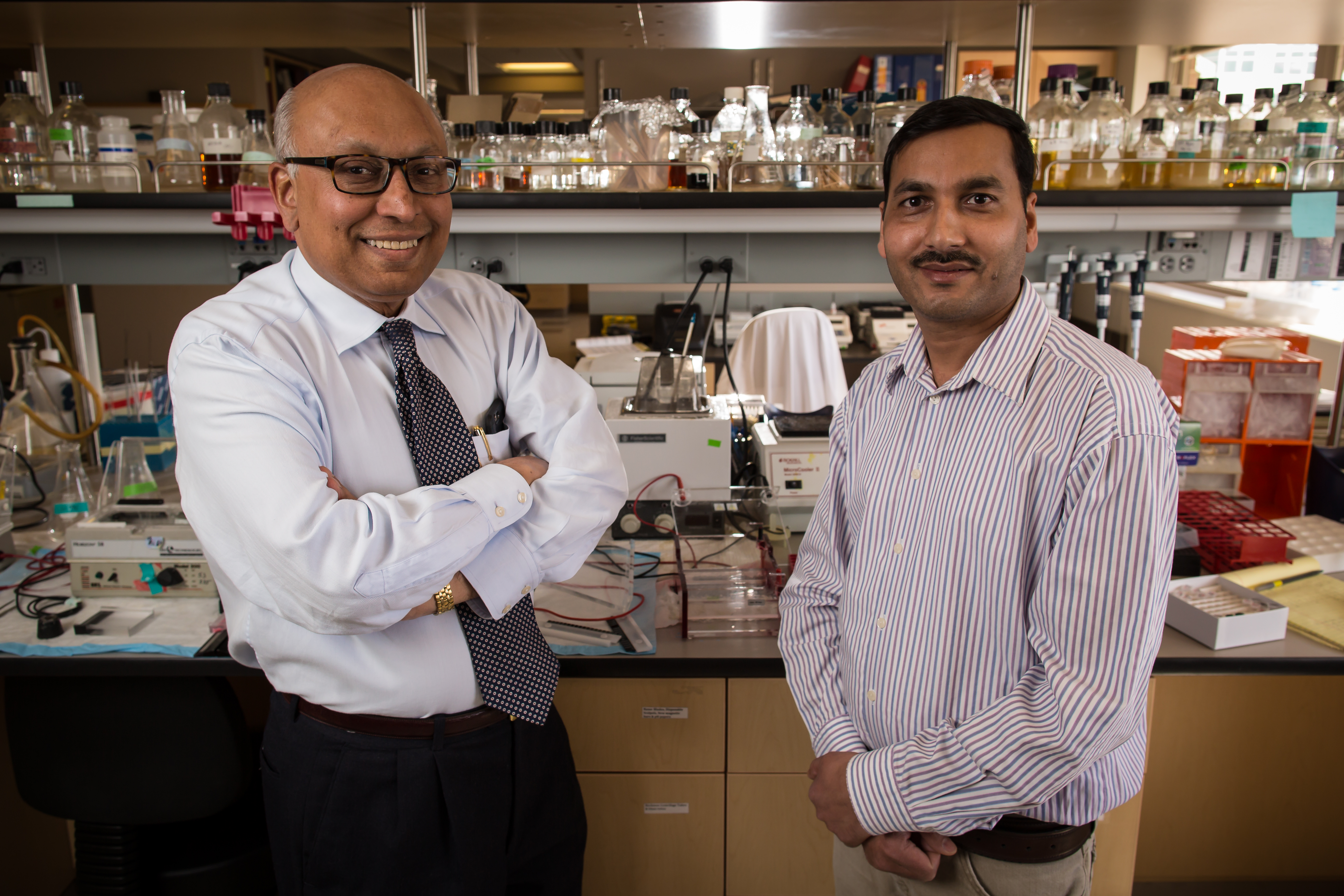 Sankar Swaminathan, M.D., professor of internal medicine and chief of infectious diseases, and Dinesh Verma, Ph.D., research assistant professor of internal medicine, University of Utah School of Medicine.