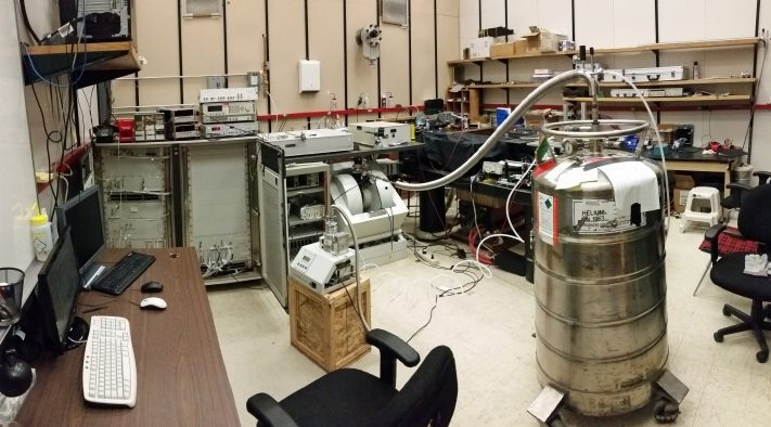 A view of the University of Utah physics laboratory where researchers showed that a phenomenon named the inverse spin Hall effect works in several organic semiconductors when pulsed microwaves are applied to the materials. The effect converts so-called spin current to electric current and may find use in future generations of batteries, solar cells and electronic devices.