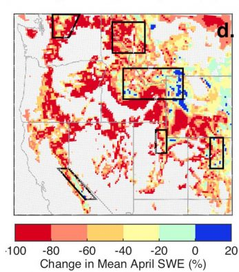 Modeled percentage changes in the mean April snow water equivalent (SWE), a measure of snowpack, in the Western United States by the end of the century.