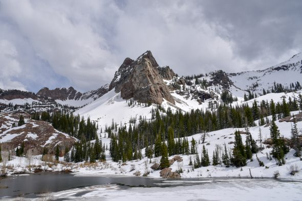 Sundial Peak, in the Wasatch Mountains, with Lake Blanche (elevation 8920 feet, 2718 meters) in the foreground, May 2016.