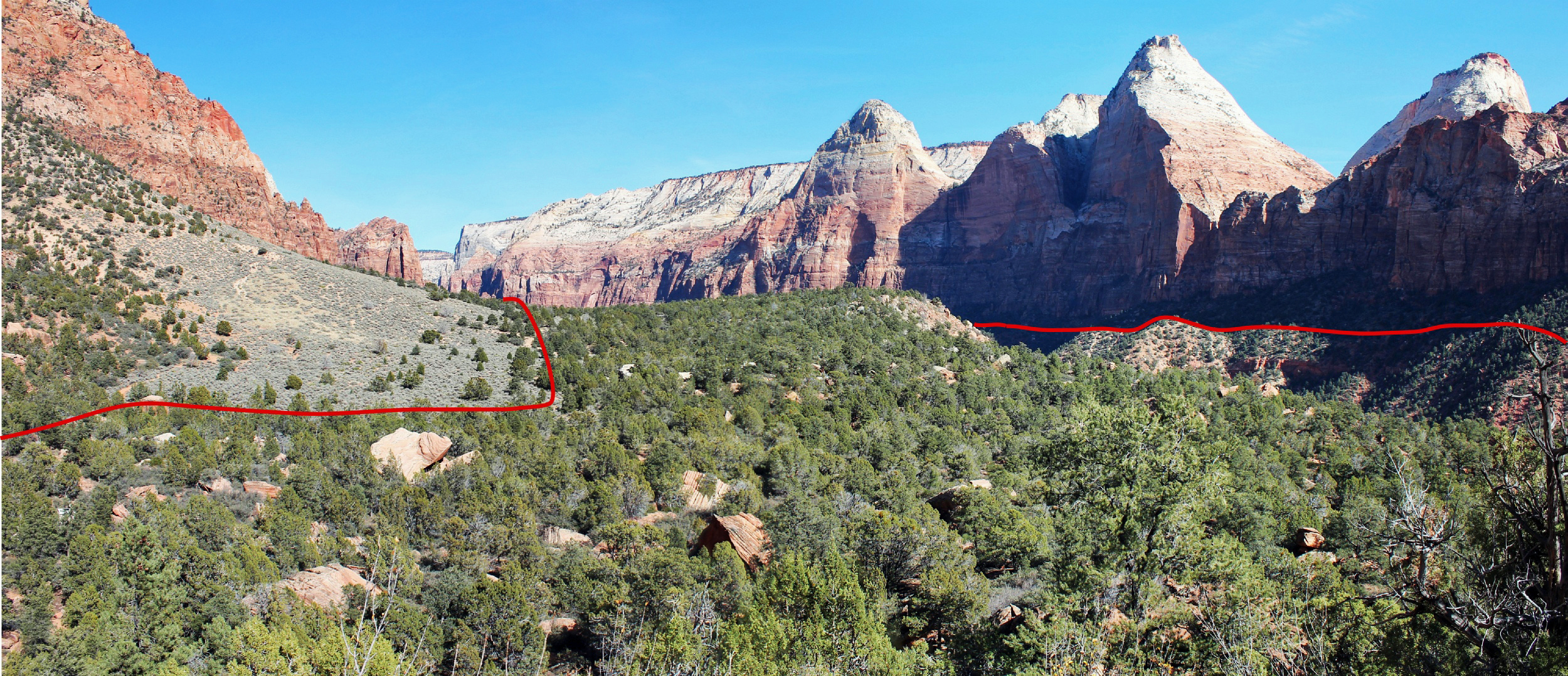 This view looking up Zion Canyon shows the remains of the giant Sentinel landslide, surrounded by the red line, that a new University of Utah study concludes happened 4,800 years ago, shaping the flat canyon floor of Zion Canyon Park in Utah.