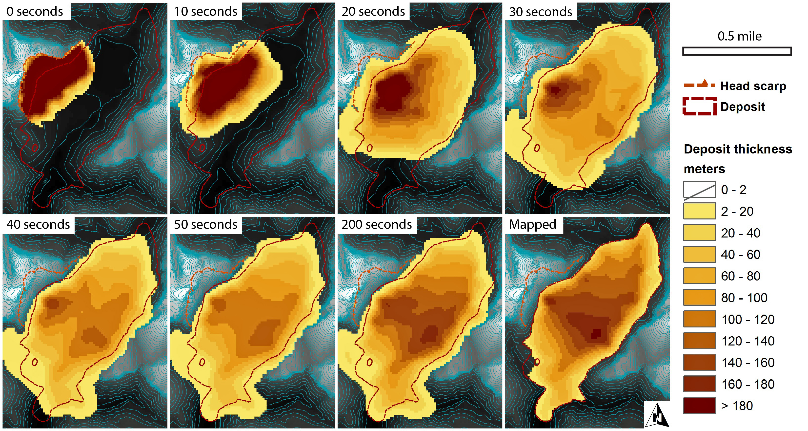 A computer-simulated time sequence of the gargantuan Sentinel landslide in Zion Canyon 4,8000 years ago is shown here. The first six frames show the progress of the rock-avalanche landslide, which lasted about a minute. Darker brown indicates thicker slide deposits, while yellow indicates thinner deposits. The last two frames compare the slide after it was at a complete standstill after 200 seconds with a reconstruction of the actual landslide deposit based on geological mapping. That shows the simulation is close to reality.