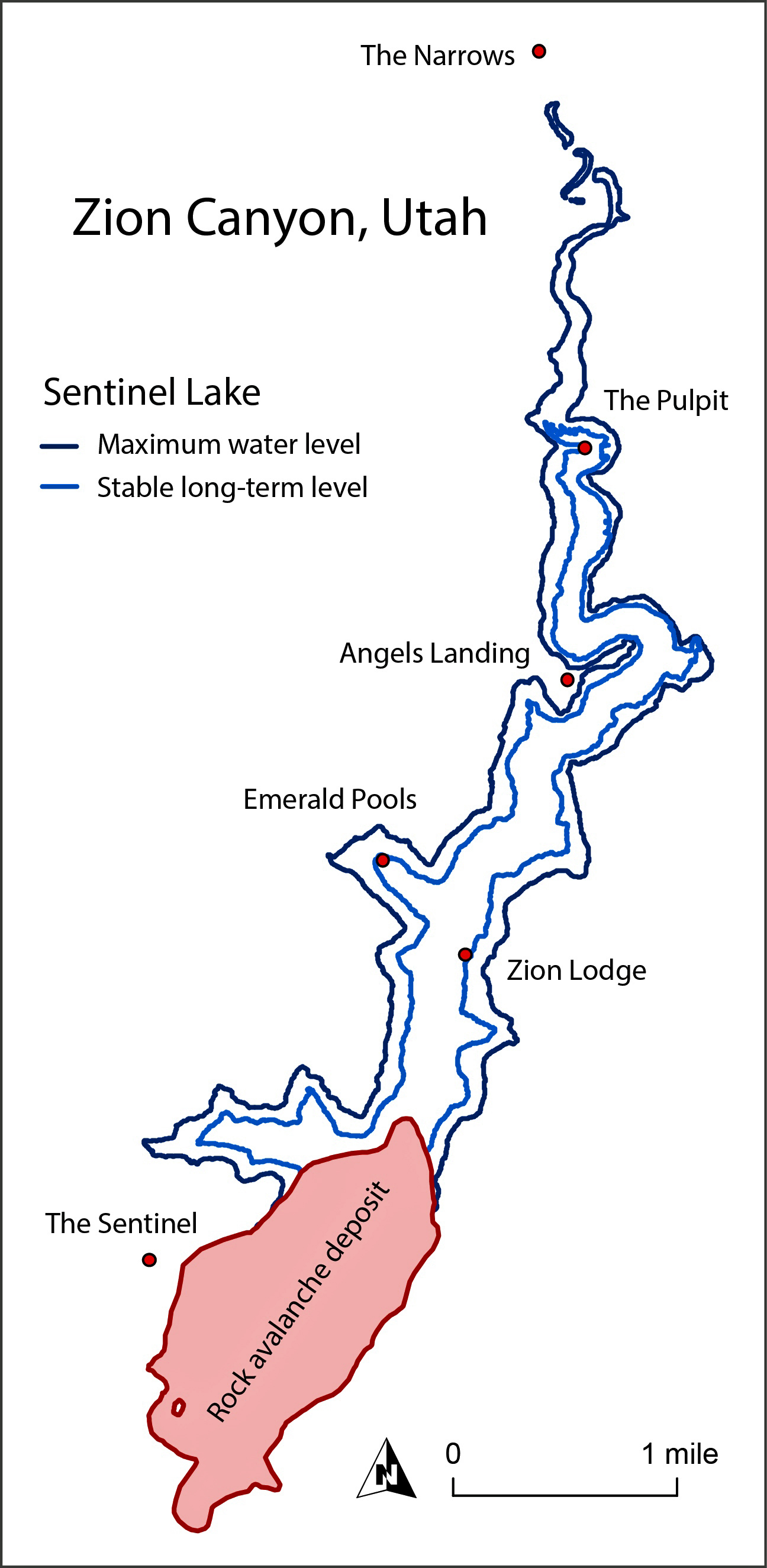 This map shows the location of the huge Sentinel landslide in Utah's Zion Canyon and the lake that formed behind it when the slide dammed the ancient Virgin River. A new University of Utah study indicates the landslide happened 4,800 years ago and that the lake lasted until it filled with sediment about 4,100 years ago. That is why the canyon floor is flat unlike steep, narrow canyons nearby.