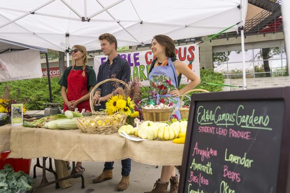 The University of Utah farmers market sells produce grown on campus at the Edible Campus Gardens.