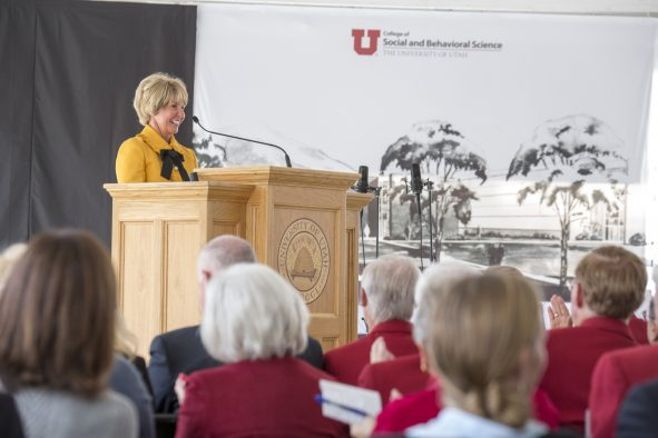 Carolyn Gardner addresses audience at the unveiling ceremony for the new Carolyn and Kem Gardner Building.