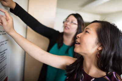 Hsien-Wen (Sherry) Meng and Quynh Nguyen, Ph.D., assistant professor at the University of Utah College of Health