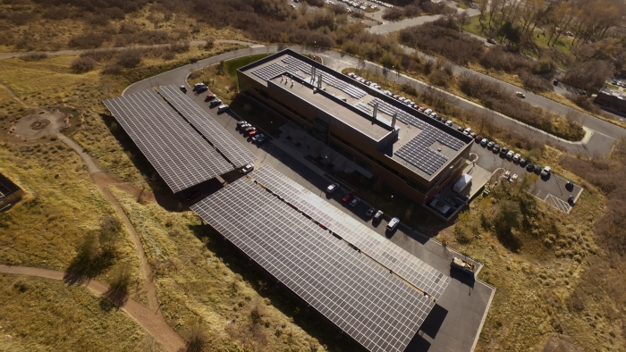 New rooftop, and parking canopy solar array at 383 Colorow in Research Park at the University of Utah.