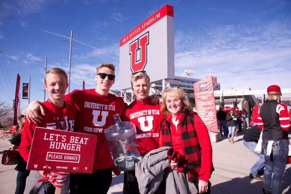 Participants in the 23rd annual Alumni food drive at the University of Utah.